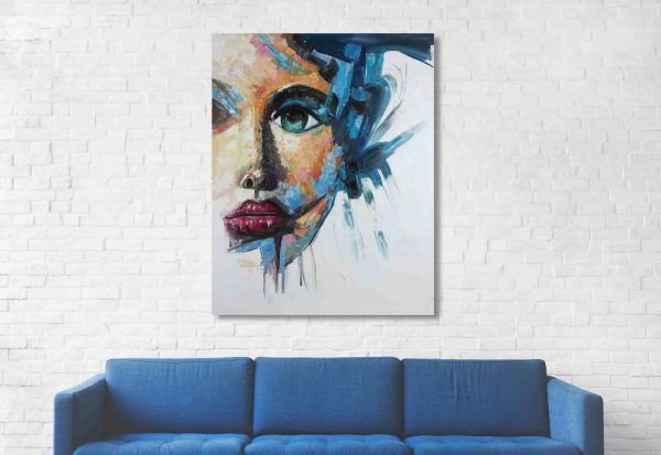 Female face painting in Living Room