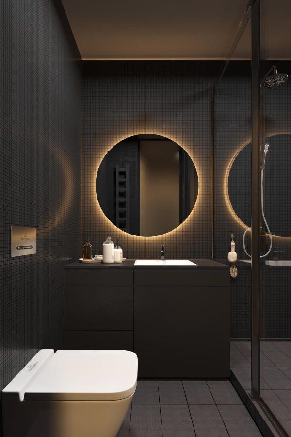 Warm-white bathroom-mirror